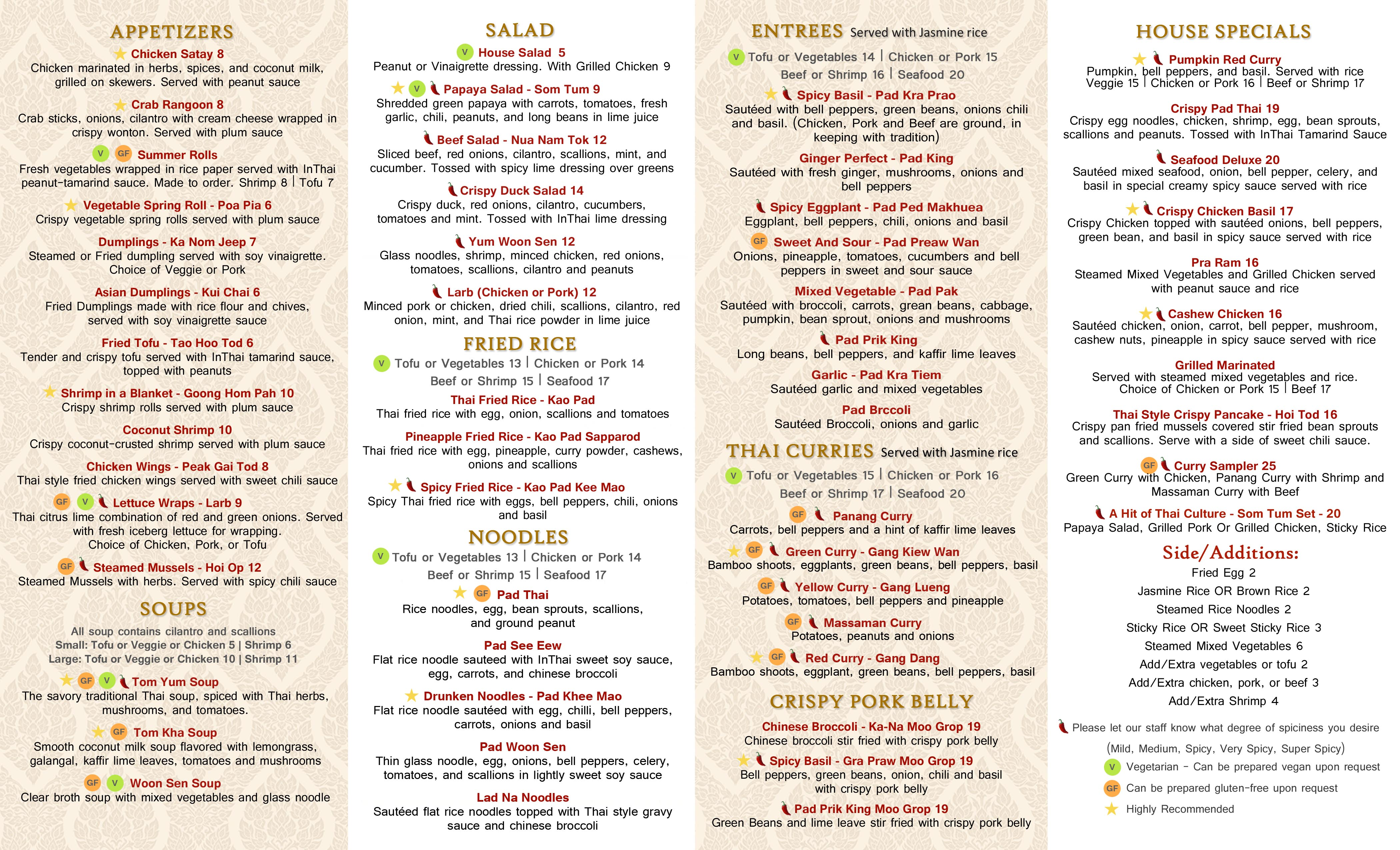 Menu | InThai Restaurant - Stamford - CT